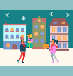 winter city people carrying presents on holidays vector image