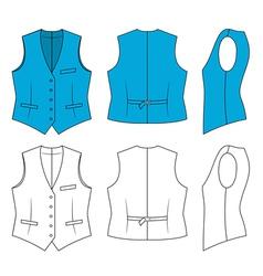 woman blue waistcoat vector image