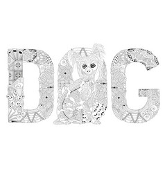 word dog for coloring decorative zentangle vector image
