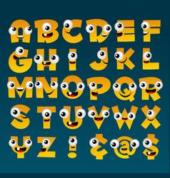 yellow cartoon alphabet vector image