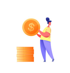 young woman golden coin with dollar vector image