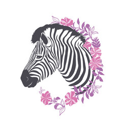 zebra portrait in a striped tie with a pink vector image