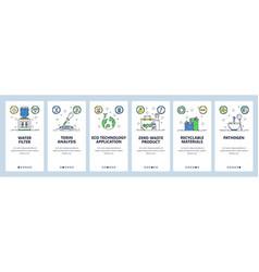 Zero waste website and mobile app onboarding vector