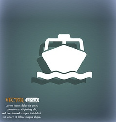 boat icon symbol on the blue-green abstract vector image