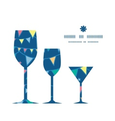 colorful doodle bunting flags three wine glasses vector image