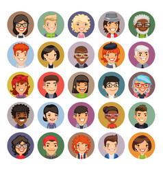 flat cartoon round avatars on color vector image
