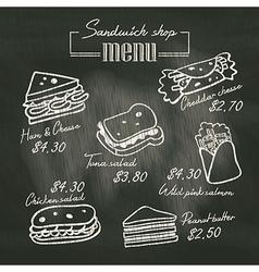 Sandwich doodle menu drawing on chalk board vector image vector image