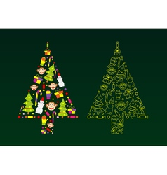 silhouette of a Christmas tree vector image