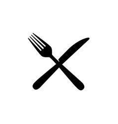 sticker contour knife and fork icon vector image
