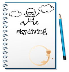 A notebook with an image of a person skydiving vector image vector image