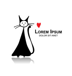 funny cat sketch for your design vector image vector image