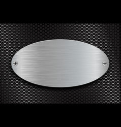 metal brushed oval plate on perforated steel vector image vector image