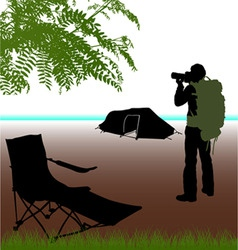 photographer with camping vector image