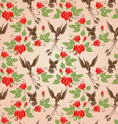 shrub roses and birds vector image
