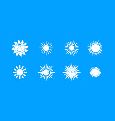 sun icon blue set vector image