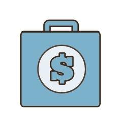 Cartoon blue suitcase money business vector