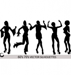 dancing girl silhouettes vector image