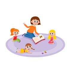 flat cartoon children sitting around woman vector image