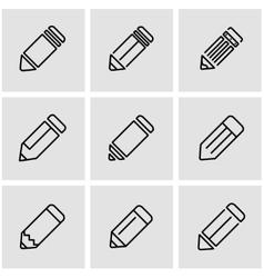 line pencil icon set vector image