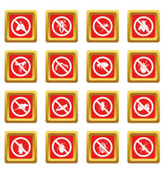 no insect sign icons set red vector image vector image
