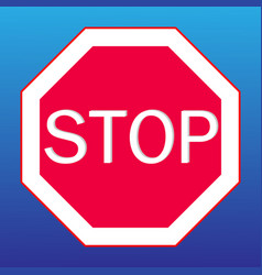 stop sign on a blue background vector image