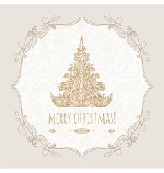template poster with gold christmas tree vector image vector image