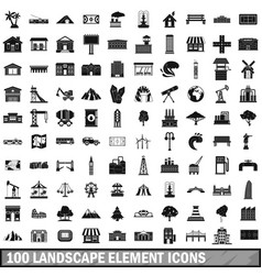 100 landscape element icons set in simple style vector image