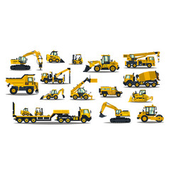 A large set construction equipment in yellow vector