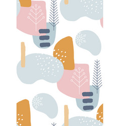 Abstract winter seamless patterns in pastel colors vector