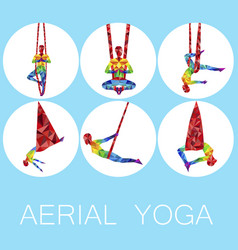 Aerial yoga icons with woman silhouette vector
