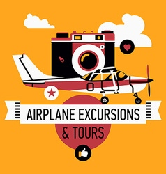 Airplane Excursions and Tours Poster vector image