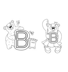 animal alphabet coloring book for preschool kids vector image