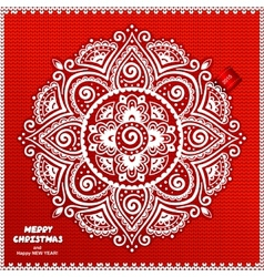Beautiful Christmas lace ornament with a knitted vector