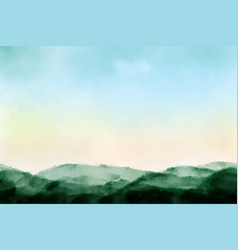 Beautiful sunrise mountain landscape watercolor vector