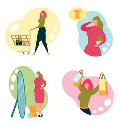 beautiful trendy woman character in shopping mall vector image