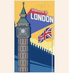 big ben london landmark with greeting word vector image