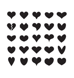 Black ink cute silhouette heart shapes icons set vector