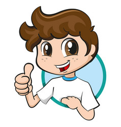 Boy with tuft and freckles signaling ok vector