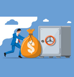 businessman depositing his money in bank in safe vector image