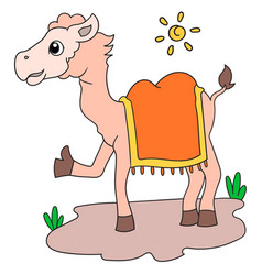 Camel animal in hot daytime alone doodle icon vector