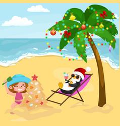 Cartoon baby girl playing in sand on beach vector