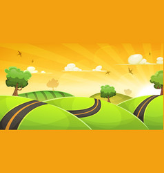 Cartoon landscape with road and shining sun vector