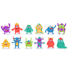 cartoon monster characters halloween funny vector image