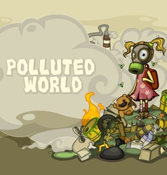 Child on a pile of garbage with Space for text vector image vector image
