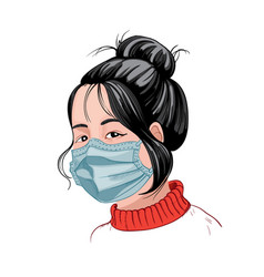 Chinese girl with dark hair and red sweater vector
