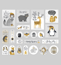 Christmas cards and gift tags set hand drawn vector