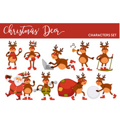 Christmas deer and santa cartoon characters icons vector