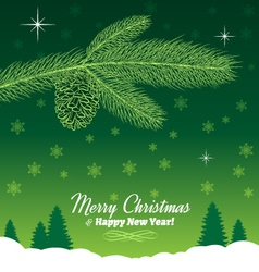 Christmas Tree Branch with Pine Cone in Green vector