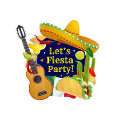 cinco de mayo guitar sombrero and mexican flag vector image