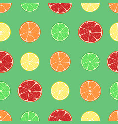 Citrus fruits pattern lemon tangerine orange vector